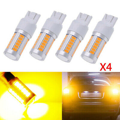 4X T20 6500K Yellow 7443 7440 5630 33SMD LED Dome Map Car Backup Reverse Lights