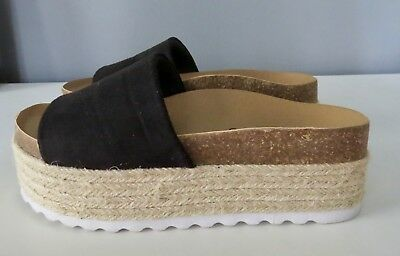 62aaef14121d Dirty Laundry Pippa Platform Sandal Black Microsuede and Jute Size 6