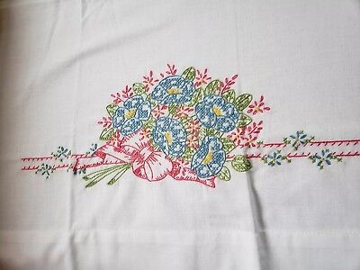 Hand Embroidered Pillow Case Cross Stitch Pink & Blue Morning Glories Ribbons