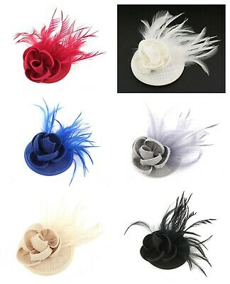 Women Flower Hair Clip Feather Small Top Hat Clip Fascinator Wedding Race Party