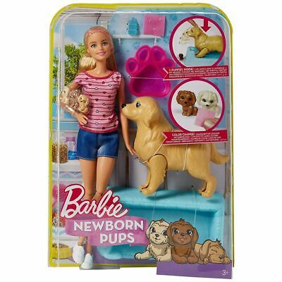 Barbie Newborn Pups Playset with Doll Mommy Dog & Color Change Puppies Mattel