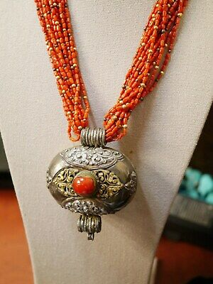 Stunning Necklace Of 20 Strands Of Natural Coral Beads & Vintage Tibetan Gau