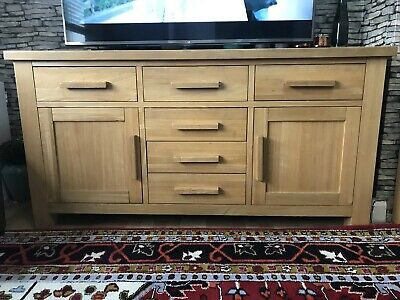 Solid Oak Sideboard With Granite Inserts Tv Stand Cabinet Wood Dining
