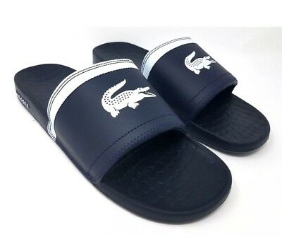 412772f2 LACOSTE FRAISIER SLIDES Flip Flops Sandals Navy Blue Gator Logo Men Size 10  NEW!