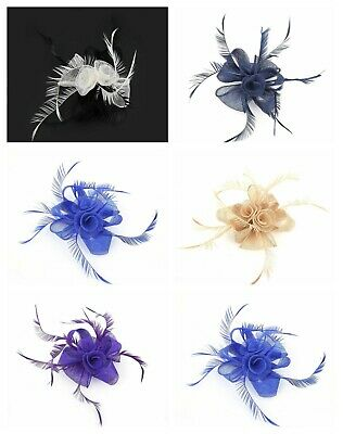Ladies Feather Flower Beak Clip Fascinator Day Races Wedding Hat Royal Ascot