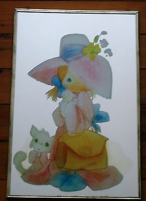 Pretty Retro Vintage Mirror Art Picture *Little Girl with a Cat