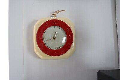 vintage smiths 8 day 4 jewels retro kitchen clock  18cm  converted to battery