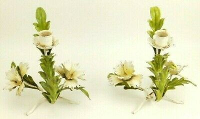 Pair Vintage Italian Italy Florentine Green & White Tole Metal Candle Holders
