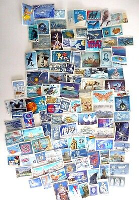 Vintage Paper Supplies Lot 100 Used Blue Postage Stamps US & International
