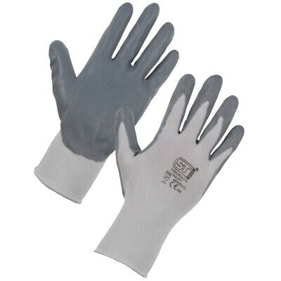 1, 12 or 24 PAIRS GREY NYLON PU COATED SAFETY WORK GLOVES GARDEN GRIP BUILDERS