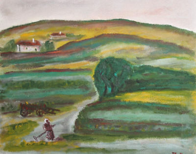 Expressionist Oil Painting  Country Scene Signed