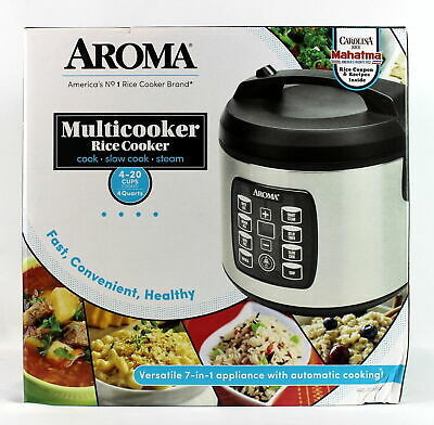 Aroma Multicooker Rice Cooker 4-20 Cups Cooked 4 Quarts ARC-103OSB