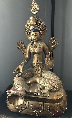 "Vintage Wood Hand Carved Painted 25"" Tibetan Buddhism Green Tara Goddess Statue"