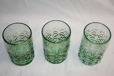 Antique Victorian Green Pattern Glass Tumblers Hand Blown Glass (set 3) pontil