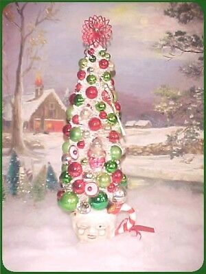 "Fabulous! Large 16"" Bottlebrush Xmas Tree Mica Flocked & Vtg Glass Ornaments"