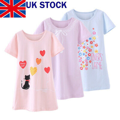 Girls Kids Pyjamas Short sleeve Nightwear Cotton Night Dress /Ladies Nightwear