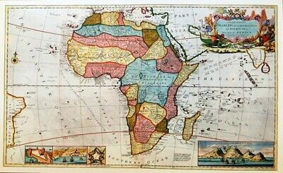 VINTAGE MAP PRINT FOR FRAMING OF AN ANTIQUE 1710 AFRICA  BY HERMON MOLL plate 33