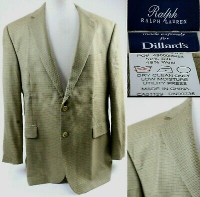 Ralph Lauren Men's Blazer Size 46R Blue Label Houndstooth Silk & Wool Beige