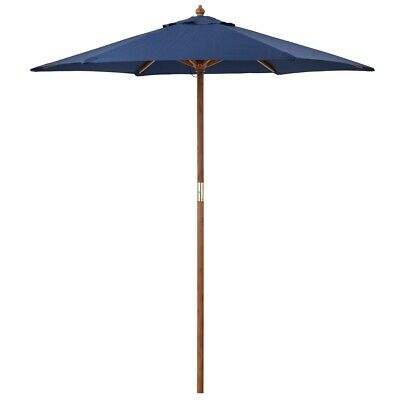Wooden Garden Parasol Umbrella Adjustable Patio Outdoor Sun Shade 2m Christow