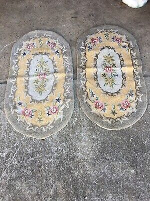"""Lot Of 2 Vintage Oval Hooked Rugs Hook 40""""x21"""""""