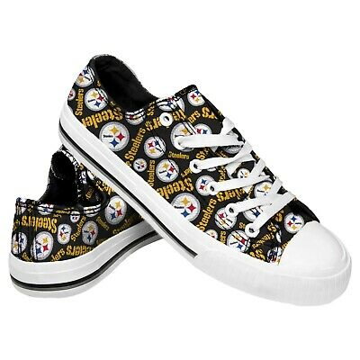 Pittsburgh Steelers NFL Women's Low Top Repeat Print Canvas Shoes FREE SHIP