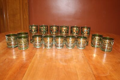 Cera Golden Grapes Green 16 Piece Barware Highball/Old Fashioned/Tumbler Glasses