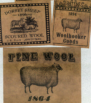 Primitive Sheep Wool Farmhouse Kitchen Pantry Labels