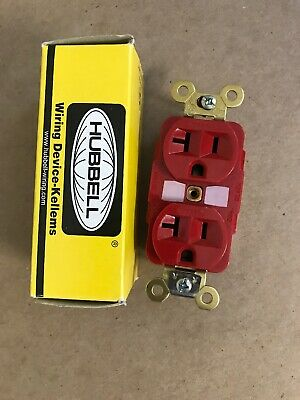 Red Hubbell Duplex Receptacles NEW - HBL5362 20A 125V 3P
