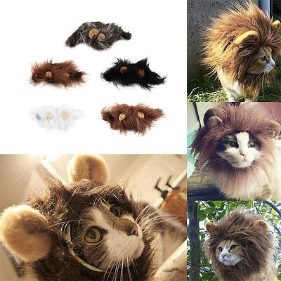 Pet Costume Lion Mane Wig for Cat Halloween Christmas Party Dress Up With Ear~JT