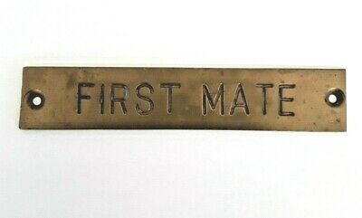 First Mate Vintage Solid Brass Plaque  Taiwan