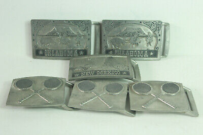 Vintage Belt Buckle Lot of 6 Pewter Brass John E McCann Tennis Oklahoma