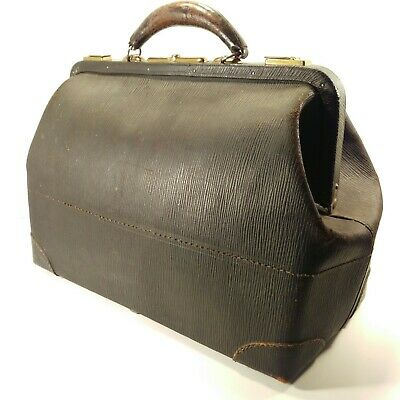 Antique Vtg Black Cowhide Leather Doctor's Physicians Bag Satchel