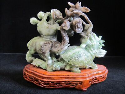 Chinese Finely Carved JADE Animal Figural Sculpture Statue on Wood Stand