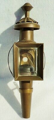 Antique Horse Drawn Carriage Brass Oil Lamp Lantern with Bracket & Beveled Glass