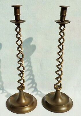 "Large Pair 19"" Antique/Vtg Solid Brass Barley Twist Candle Stick Holders #5499"
