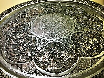 antique LARGE SIGNED persian islamic qajar pahlavi eastern tinned copper tray