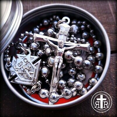 Knights of Columbus® Rugged WWI Replica Combat Rosary in Silver Finish