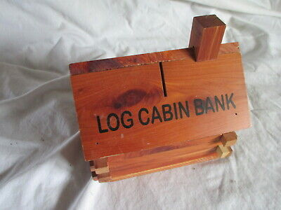 Vintage All Wood Log Cabin Bank with Stopper NWT
