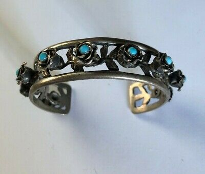 Vintage 800 Silver PERUZZI Italy Cuff BRACELET Flowers Floral w Turquoise