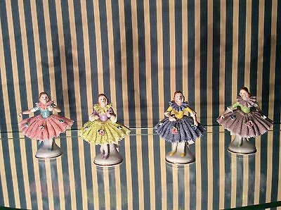 volkstedt dresden sitzendorf porcelain Beautiful girls multi color figurine
