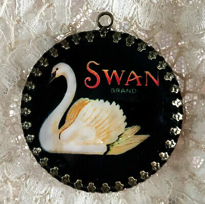 SWAN ~ XL 35mm ROUND  PENDANT Filigree VINTAGE ADVERTISING BIRD LABEL