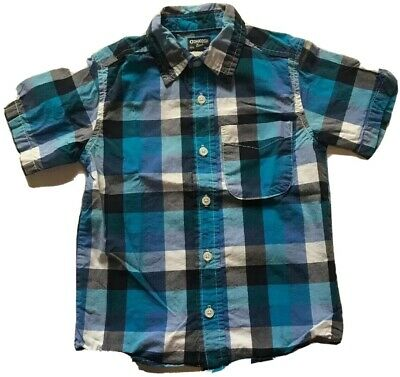 Oshkosh Bgosh Toddler Boys Plaid Short Sleeve Button Down Shirt Size 4T