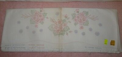 2 Stamped Cotton Pillowcases Pillow Tubing - Flowers Design - Hemstitched - NOS