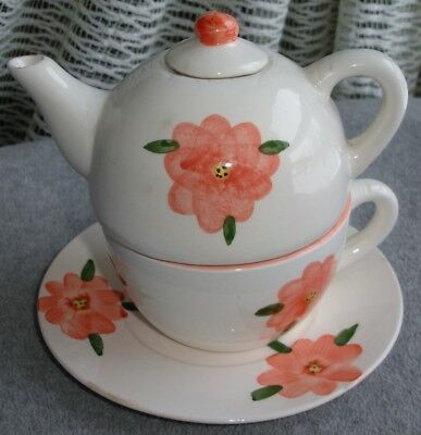 Tea for One Set of Stacked Ceramic Teapot with Lid, Cup & Saucer White & Orange