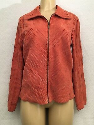 BAMBOO TRADERS WOMENS Medium Red Corduroy Jean Jacket W9 - $21 28