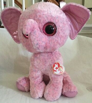 """216b677efa1 Ty Beanie Boo Boos Ellie Elephant Jumbo 17"""" Extra Large Justice Exclusive  Pink"""