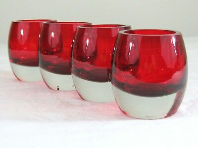 Set of 4 Lenox Holiday Gems Festive Ruby Red Lowball Rocks Roly Poly Bar Glasses