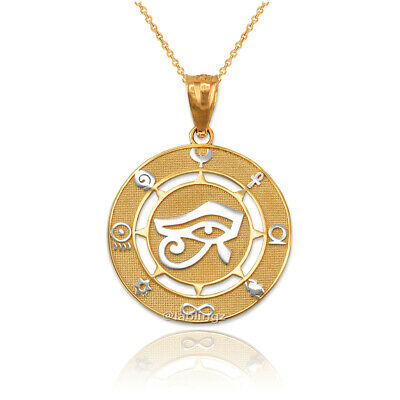 Two-Tone Yellow Gold Eye of Horus Good Luck Amulet Pendant Necklace