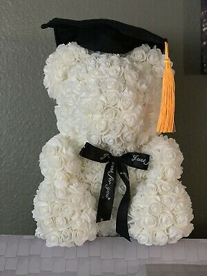 "Graduation Rose Bear Flower Teddy 16""In Box"