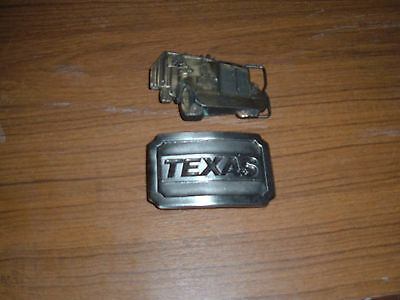 Lot of 2 vintage mens brass belt buckles: Texas & semi truck